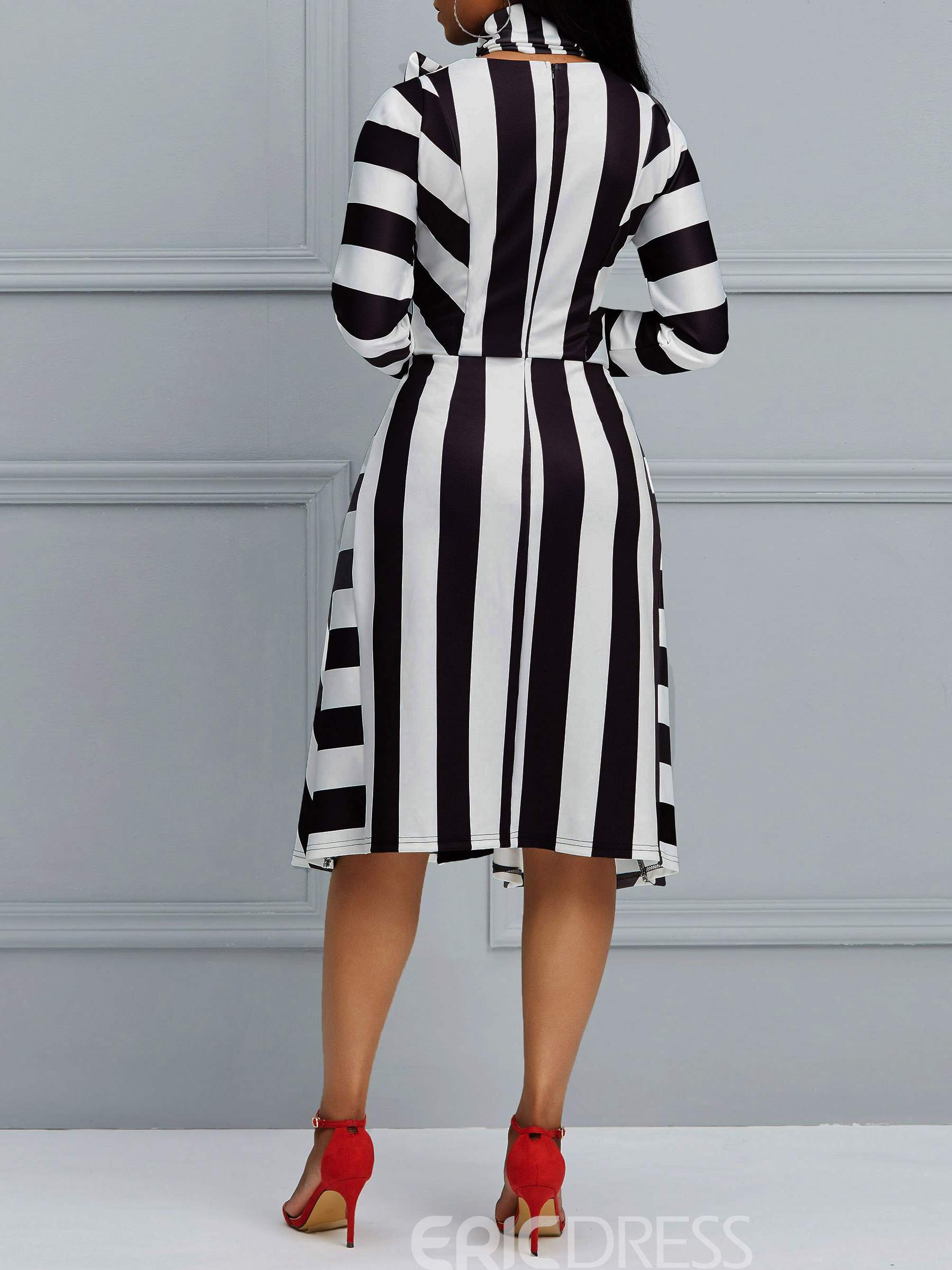 Ericdress A-Line Stripe Bowknot Women's Dress