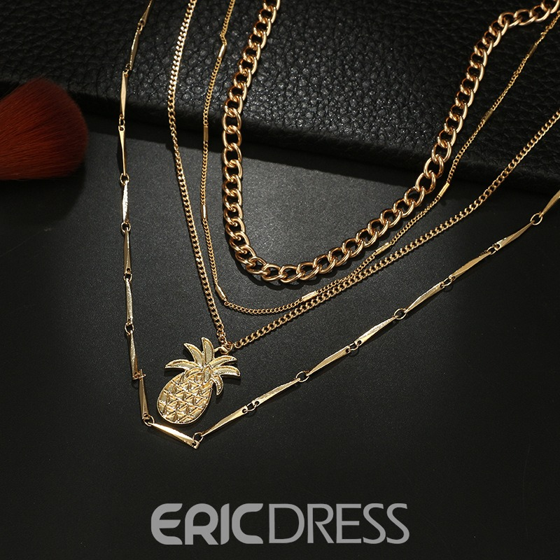 Ericdress Pineapple Layered Necklace
