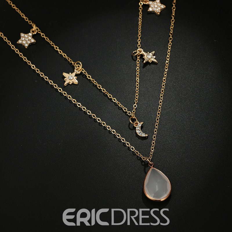 Ericdress Star&Moon Gem Necklace