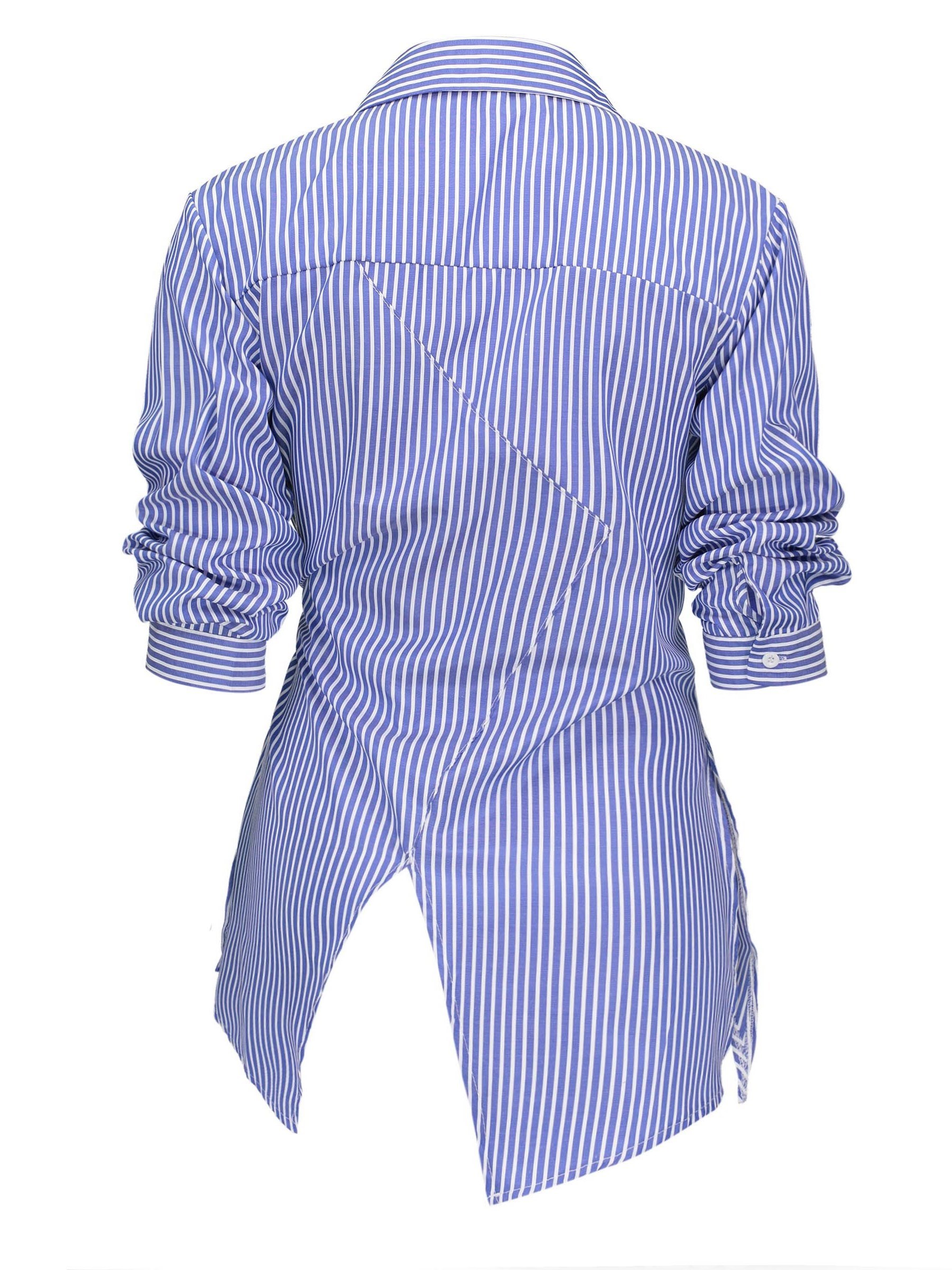 Ericdress Stripe Stand Collar Asymmetric Long Sleeve Blouse