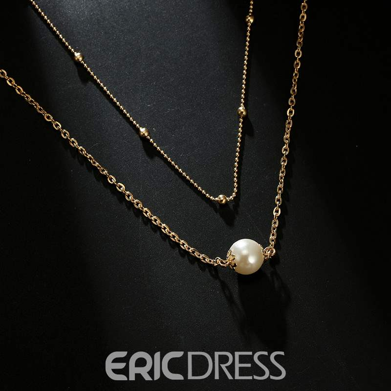 Ericdress Pearl Double Chain Neclace
