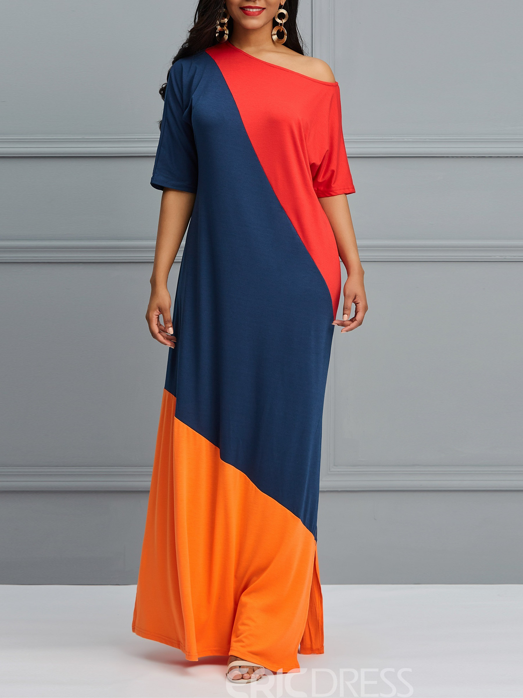Ericdress Color Block Floor-Length Women's Dress