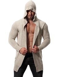 Ericdress Plain Hooded Mid-Length Mens Chunky Knit Cardigan фото