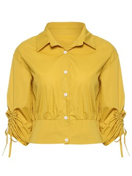 Ericdress Button-Down Plain Yellow Long Sleeve Blouse