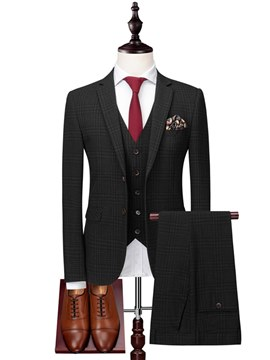 Ericdress Black Plaid Mens 3 Pieces Casual Business Suits