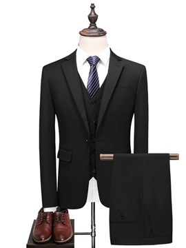 Ericdress Plain One Button Blazer Pants Vest Mens Casual Business Suits