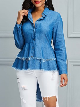 Ericdress Denim Asymmetric Ruffles Long Sleeve Blouse