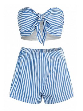 Ericdress Stripe Lace-Up Bowknot Tankinis