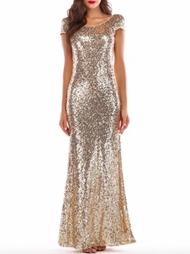 Ericdress Mermaid Backless Sequins Women's Party Dress