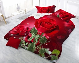 3D Red Rose Blooming Reactive Printing 4-Piece Polyester Duvet /Cover Sets