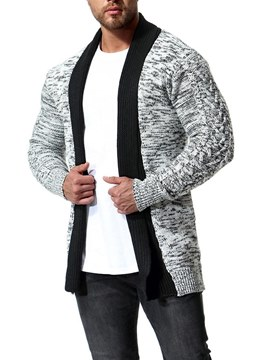 Ericdress Striped Patchwork Mens Casual Chunky Knit Cardigan