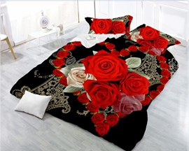3D Heart-shaped Blooming Red Rose 4-Piece Polyester Duvet /Cover Sets
