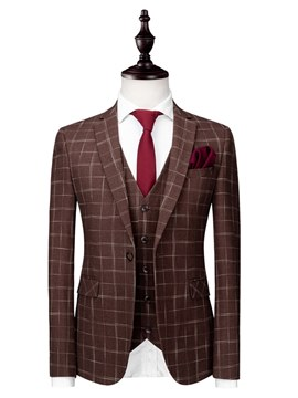 Ericdress Plaid One Button 3 Pieces Mens Casual Stylish Suits