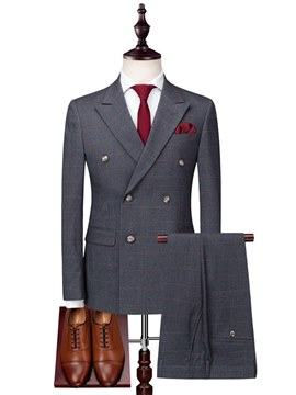 Ericdress Plain Plaid Single Breasted Mens 3 Pieces Suits