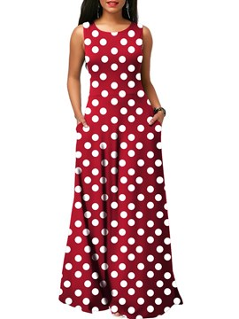 Ericdress Polka Dots Floor-Length Women's Dress