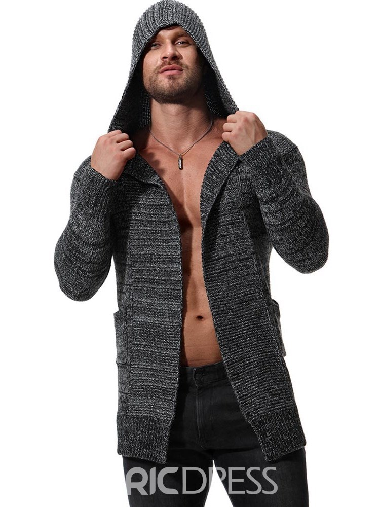 Ericdress Plain Hooded Mid-Length Mens Chunky Knit Cardigan