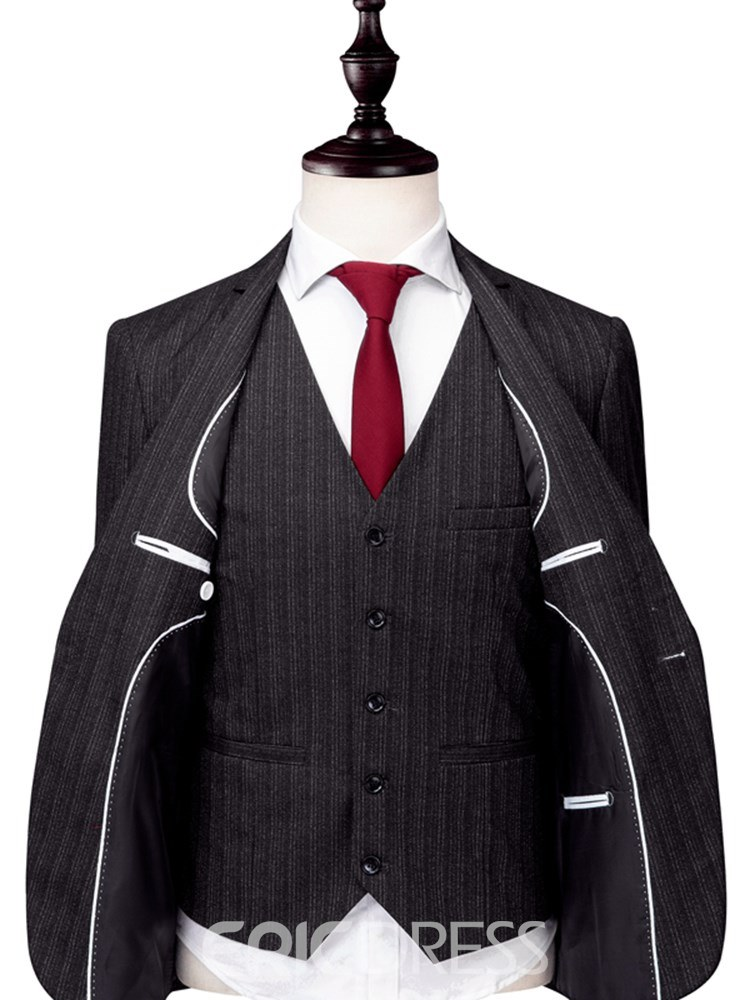 Ericdress Striped Plain One Button Mens 3 Pieces Suits