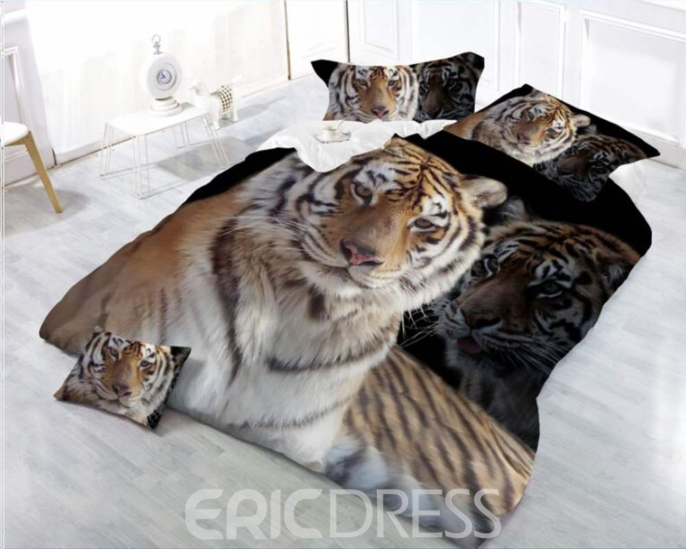 3D SittingTiger Printing 4-Piece Polyester Duvet /Cover Sets