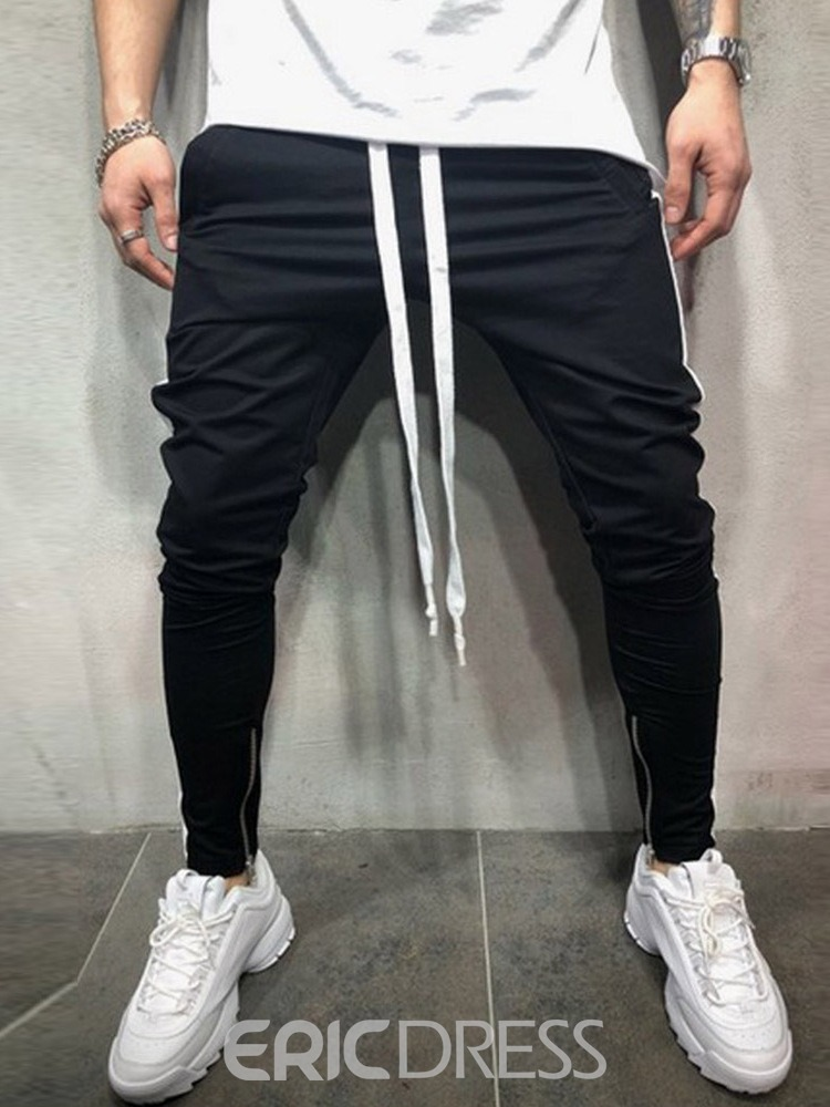 Ericdress Patchwork Lace Up Slim Hip Hop Mens Casual Sports Pants