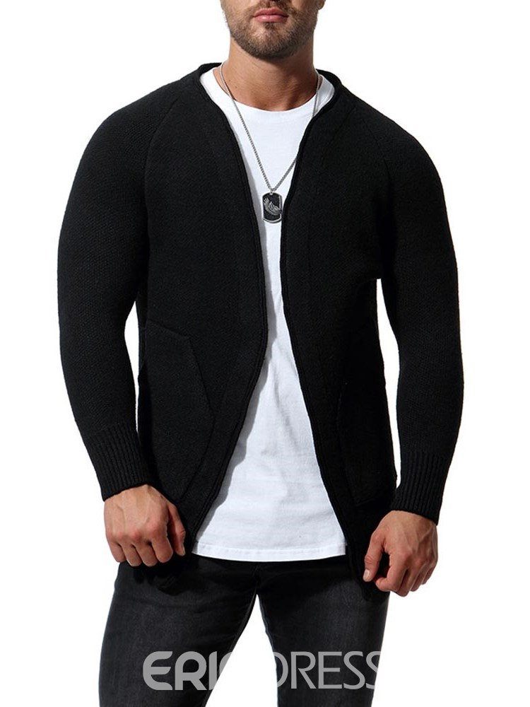 Ericdress Plain Slim Mens Casual Cardigan With Pockets
