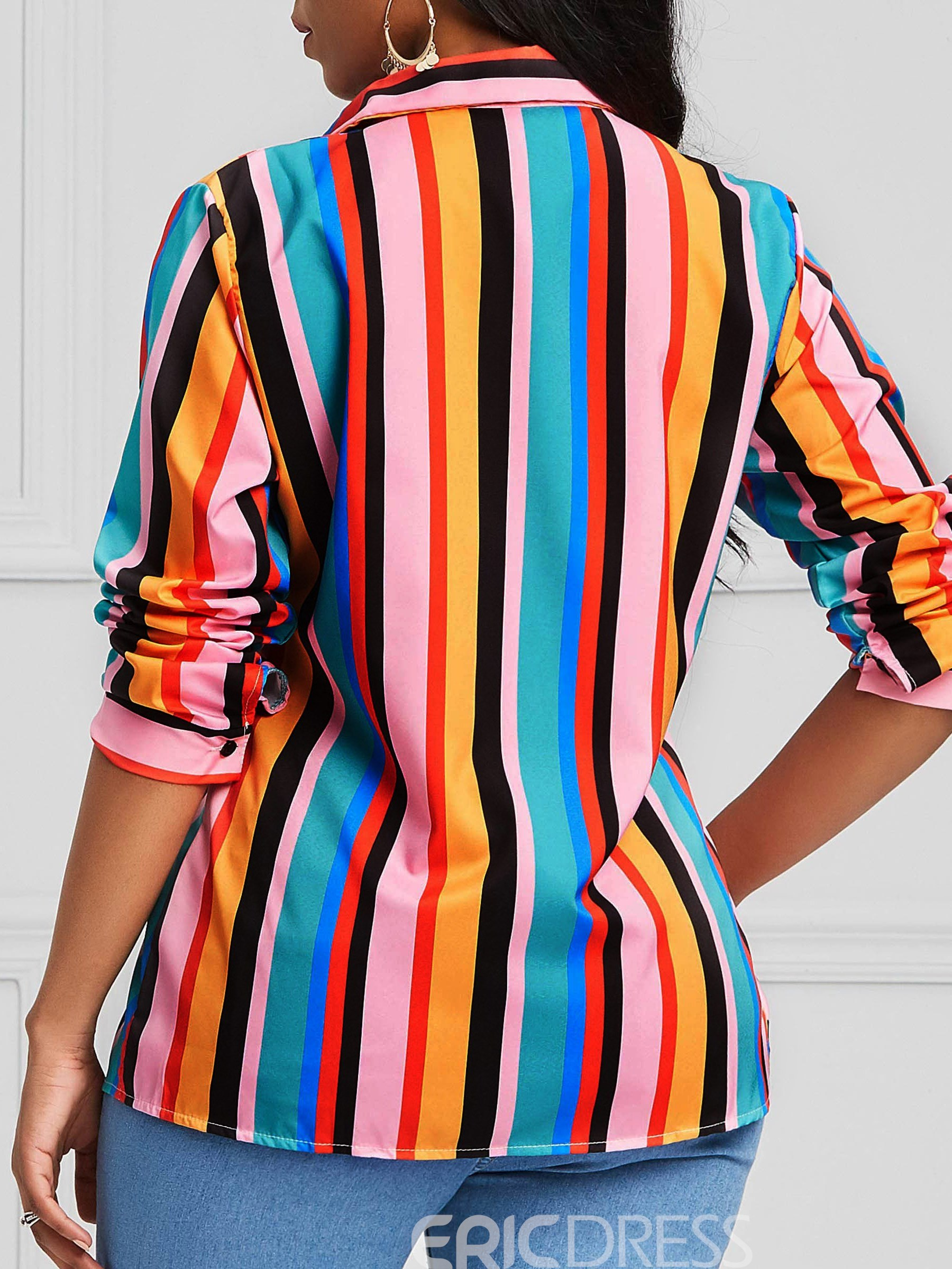 Ericdress Pocket Stripe Single-Breasted Color Block Shirt