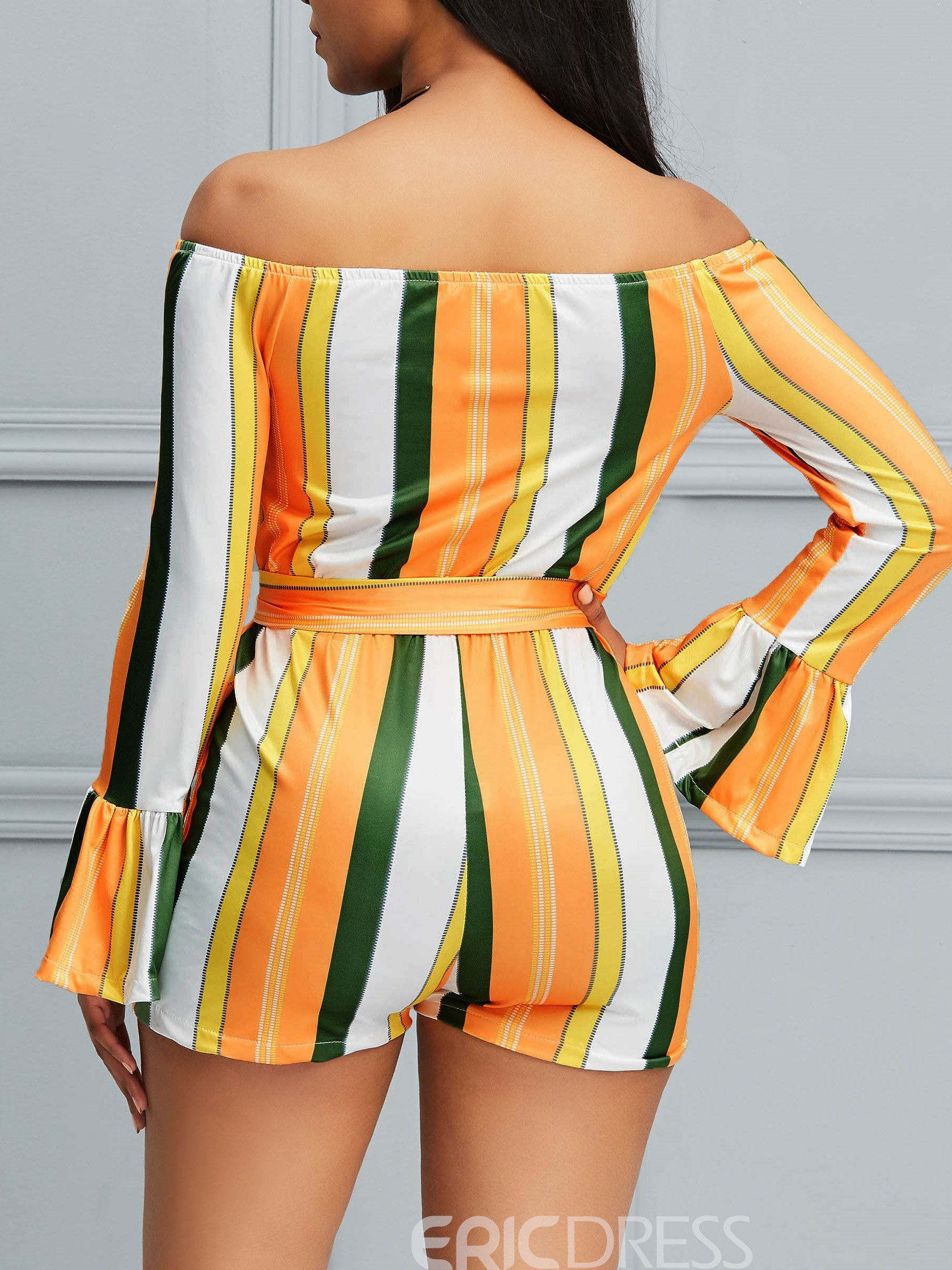 Ericdress Striped Off-Shoulder Flare Sleeve Women's Rompers