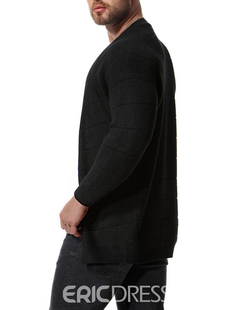 Ericdress Plain Slim Mid-Length Mens Casual Cardigan Sweaters