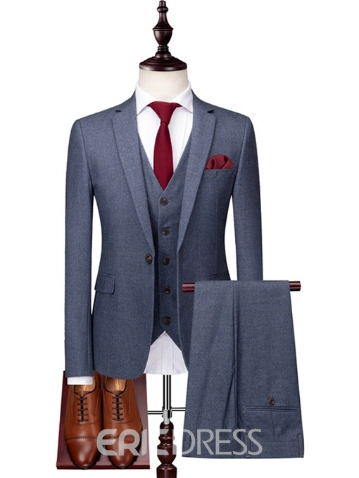Ericdress Plain One Button Mens 3 Pieces Casual Business Suits