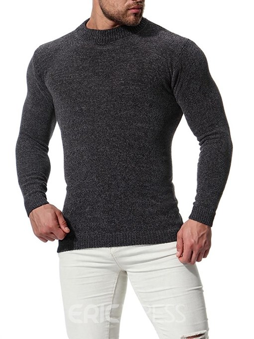 Eeicdress Plain Slim Fitted Scoop Mens Casual Sweaters