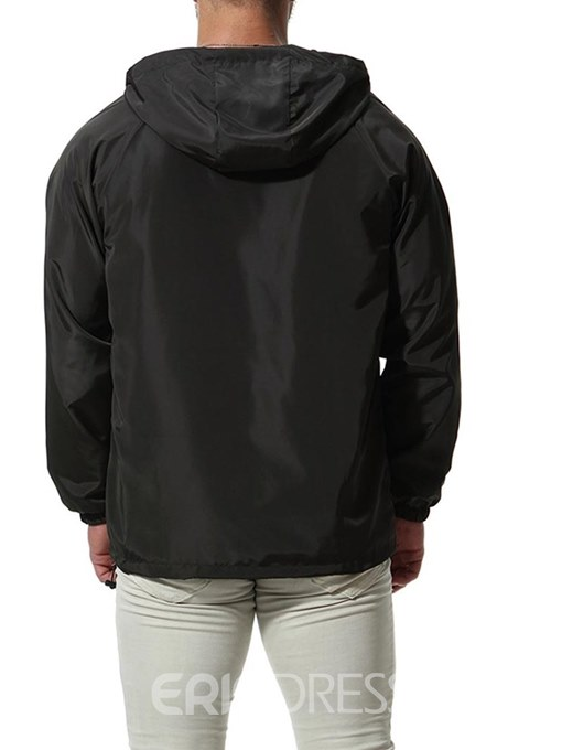 Ericdress Plain Zipper Hooded Raglan Sleeve Mens Casual Anorak Jacket