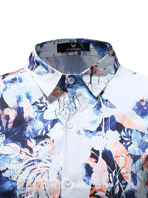 Ericdress Floral Printed Button Up Mens Casual Ball Shirts