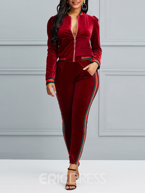 Ericdress Patchwork Thread Pocket Jacket and Pencil Pants Women's Two Piece Set