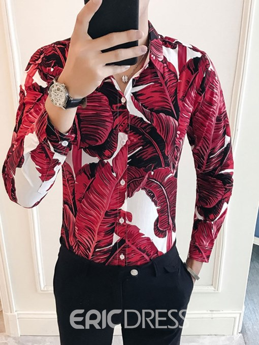 Ericdress Plant Printed Button Up Slim Fit Mens Casual Party Shirts
