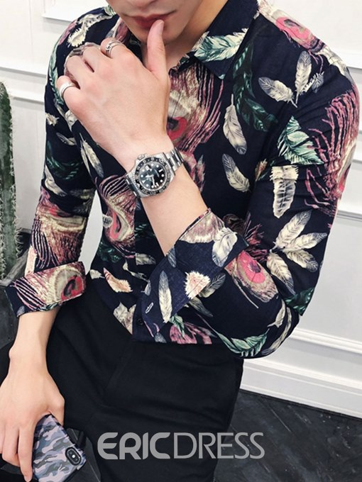 Ericdress Peacock Feather Printed Slim Mens Casual Party Shirts