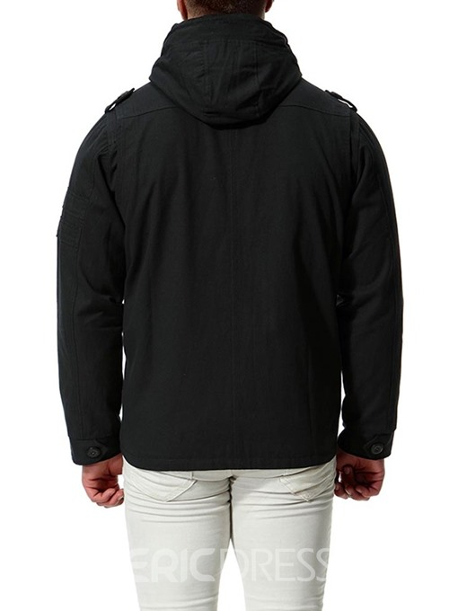 Ericdress Plain Hooded Button Zip Designed Mens Loose Jacket