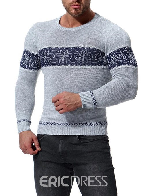 Ericdress Striped Color Block Slim Mens Scoop Sweaters