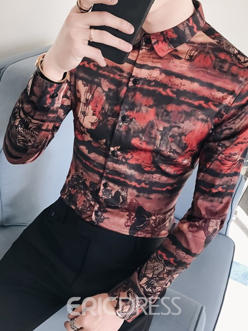 Ericdress Floral Printed Button Up Mens Slim Casual Shirts