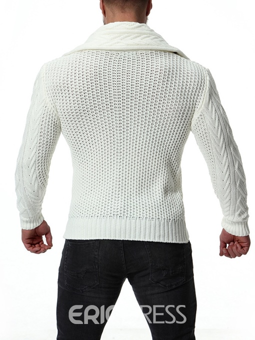 Ericdress Plain Shawl Collar Mens Button Casual Sweaters