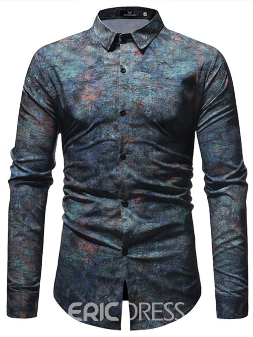 Ericdress Printed Lapel Button Up Loose Mens Casual Ball Shirts