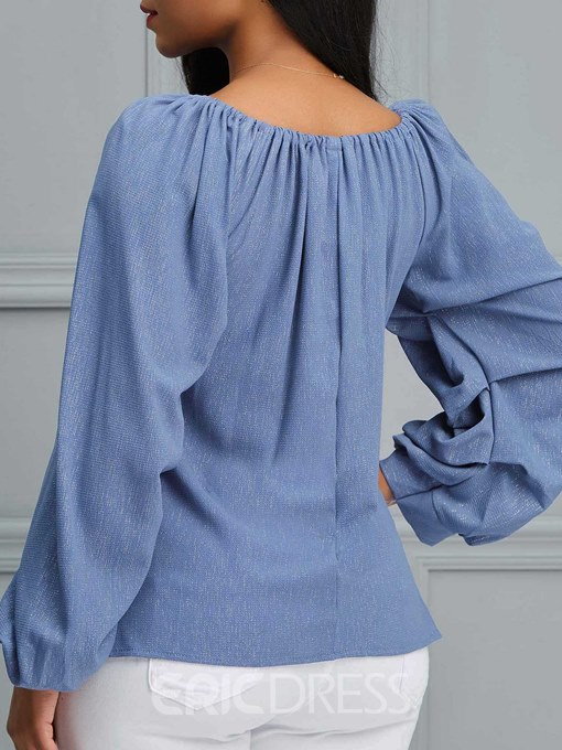 Ericdress Pleated Patchwork Mid-Length Puff Sleeve Blouse