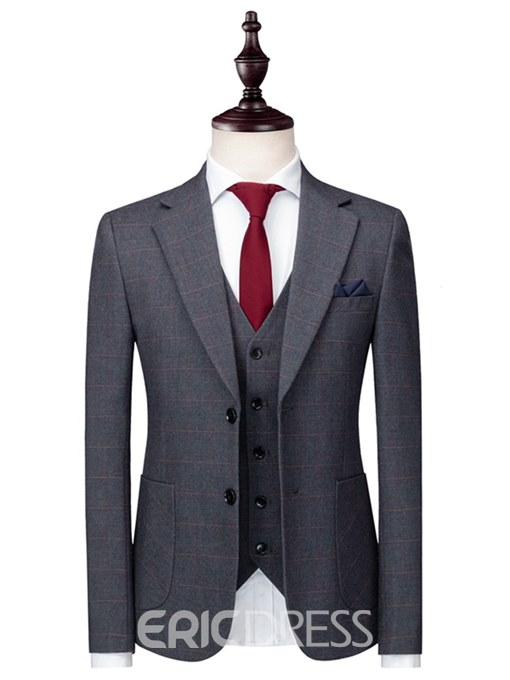 Ericdress Plaid Two Button 3 Pieces Mens Casual Business Suits