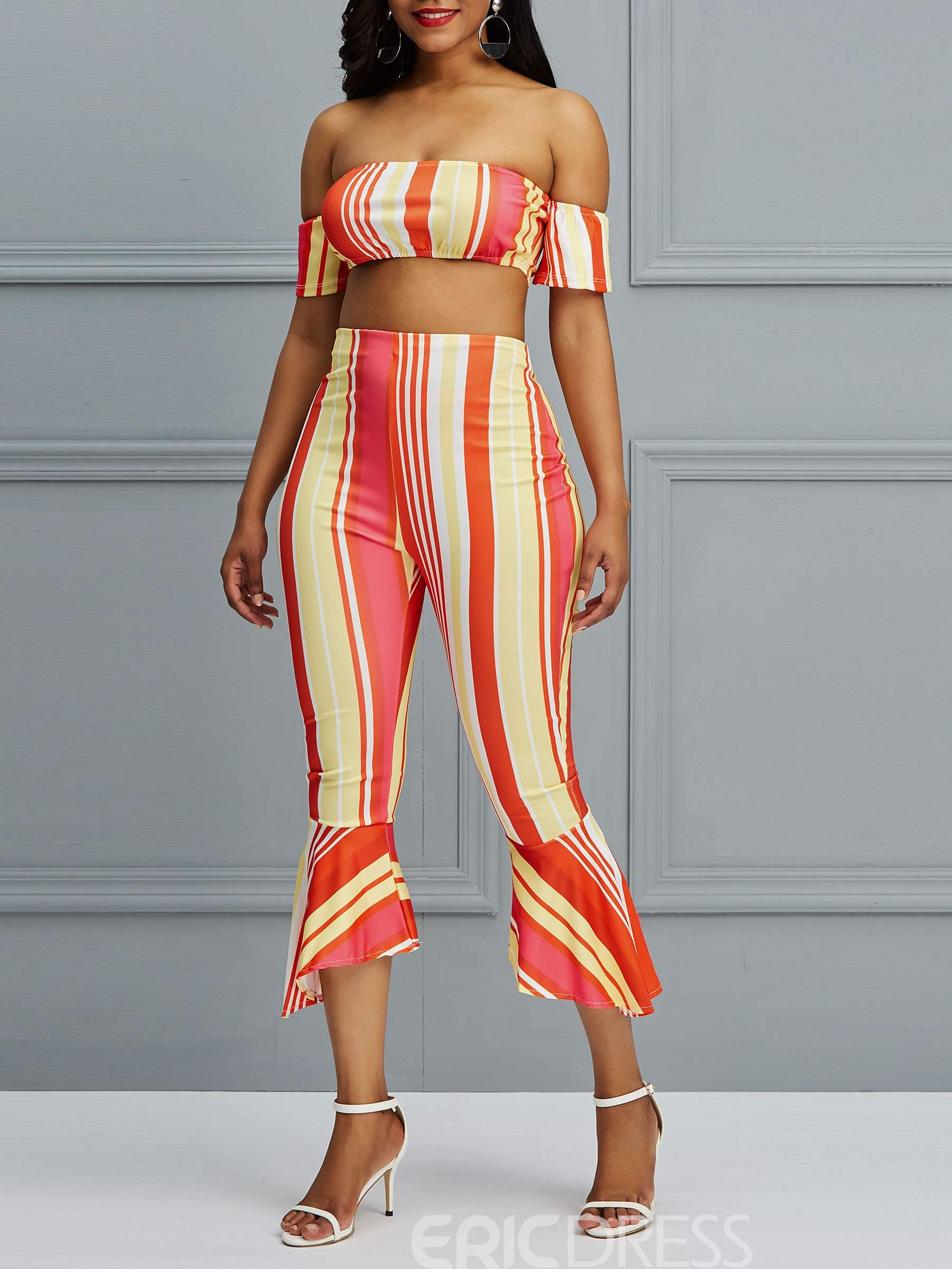 Ericdress Striped Tube Top and Bellbottoms Sexy Women's Two Piece Set