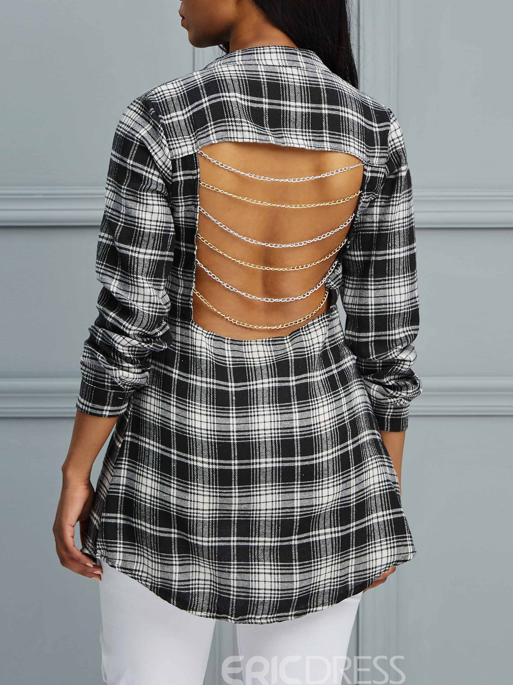 Ericdress Single-Breasted Chain Plaid Long Sleeve Blouse
