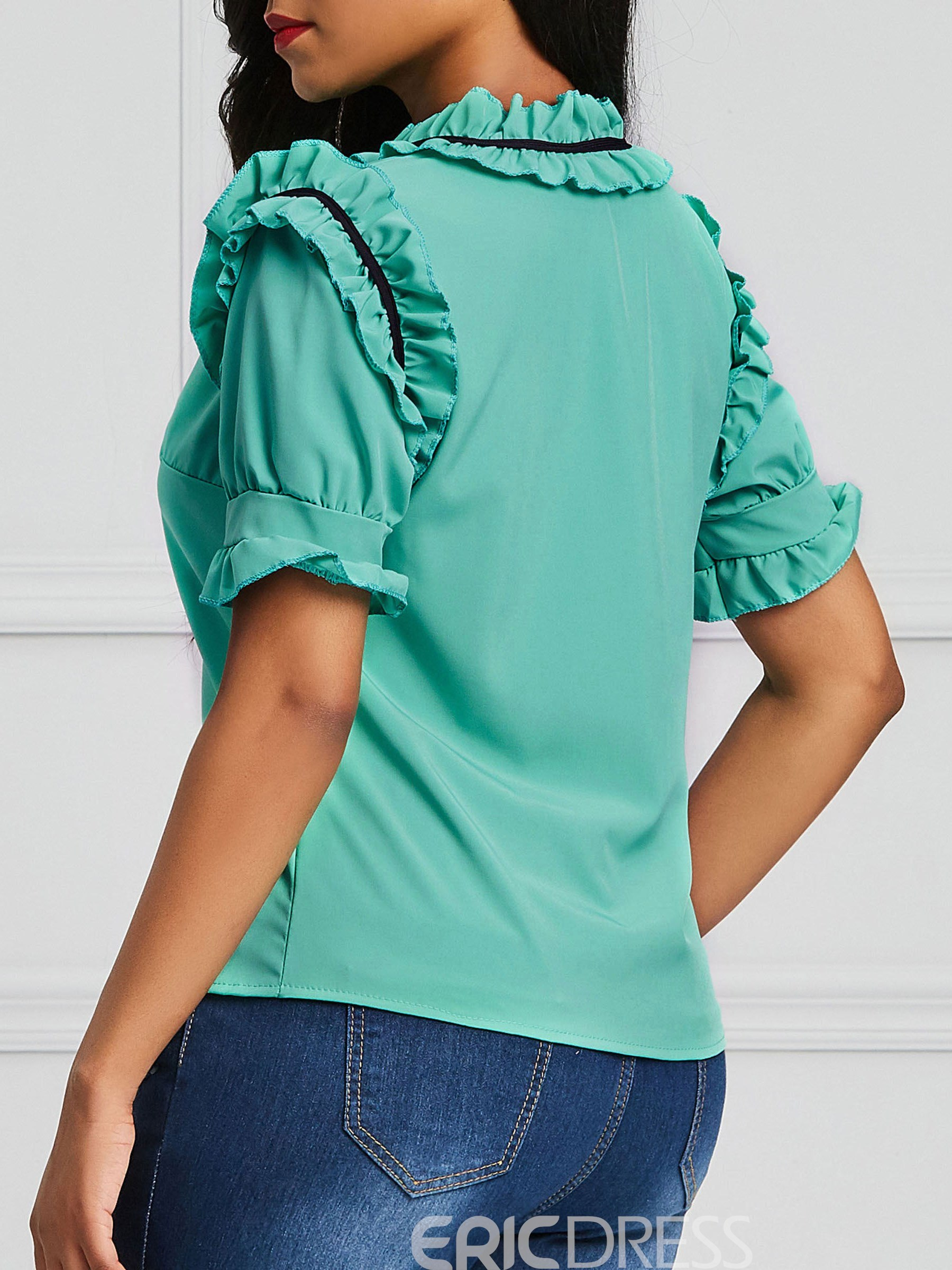 Ericdress Stringy Selvedge Pleated Plain Short Sleeve Blouse