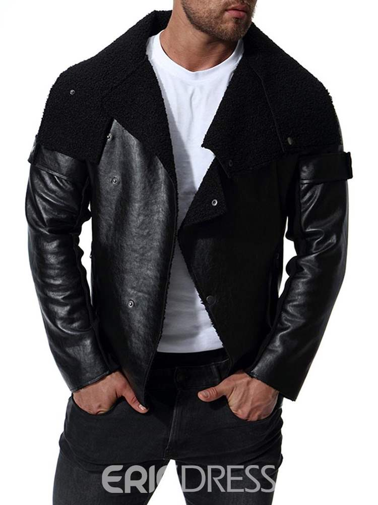 Ericdress Black Slim Fit Asymmetric Mens PU Leather Jacket
