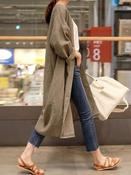 Ericdress Casual Long Sleeve Fall Plain Trench Coat