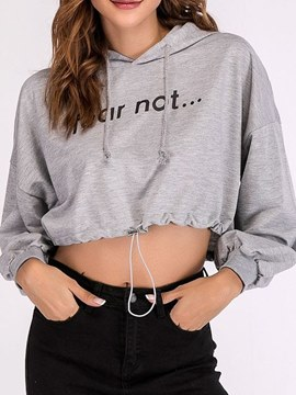 Ericdress Loose Letter Long Sleeves Crop Top Hoodie