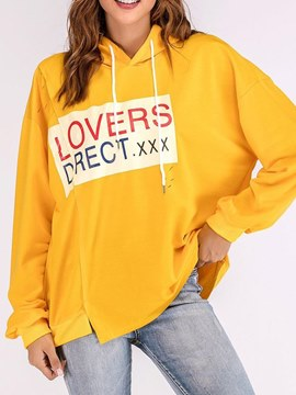 Ericdress Casual Letter Loose Yellow Cool Hoodie