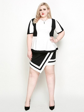 Ericdress Plus Size Falbala Skirt Office Lady Asymmetrical T-Shirt And Skirt Two Piece Sets