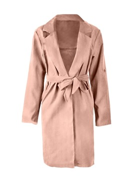Ericdress Notched Lapel Thin Lace-Up Trench Coat
